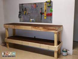 Wooden Bench Plans To Build by Garage Wooden Workbench Plans How To Build A Work Bench