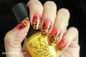 nail art sunset floral nail design 26gnai polished polyglot