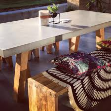 Concrete Dining Room Table Slabs By Design Obi Concrete And Recycled Teak Trestle Leg