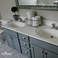Painting Bathroom by Pretty Distressed Bathroom Vanity Makeover With Latex Paint