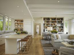 stylish white open kitchen in family room with sofa bed