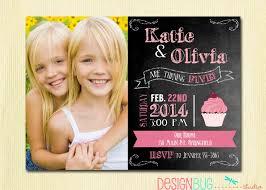 1st Year Baby Birthday Invitation Cards Twins Chalkboard Cupcake Invitation 1 2 3 4 Year Old Etc