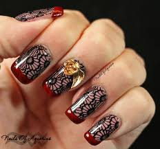 silk stockings stamped nail art design featuring opi