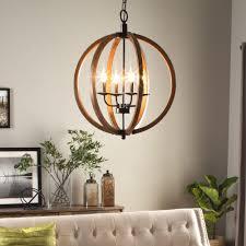 Chandelier Lighting For Dining Room Modern Chandelier Lighting Globe 4 Lights Wood Ceiling Fixture