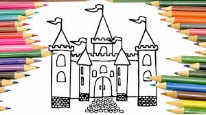 how to draw castle coloring pages for kids drawing and painting