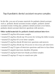 Dental Resume Samples Top8pediatricdentalassistantresumesamples 150529140032 Lva1 App6891 Thumbnail 4 Jpg Cb U003d1432908406