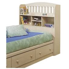 Maple Wood Bedroom Furniture Furniture Beige Polished Maple Wood Twin Bed With Bookcase