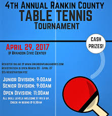 Table Tennis Tournament by Rankin County Table Tennis Tournament City Of Brandon Mississippi