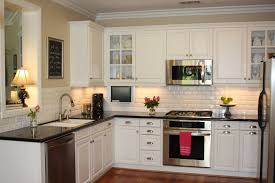 Small L Shaped Kitchen White Cabinet Feat Black Countertop Design For Small L Shaped