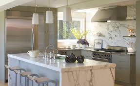 stainless steel kitchen island with marble top modern kitchen