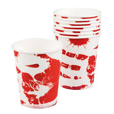 bloody paper drinks cups fancy dress halloween costume party