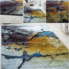 Coloured Rug Trendy Multi Coloured Rug Canvas Look Abstract Design Carpet New