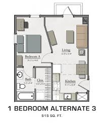 Single Bedroom Apartment Floor Plans by Floor Plans For Msu Students Student Housing In East Lansing