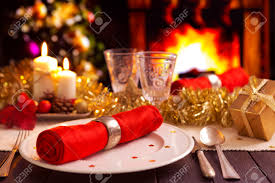 Dinner Table A Romantic Christmas Dinner Table Setting With Candles And