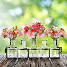 Black Centerpiece Vases by Small Bud Glass Vases In Black Metal Rack Stand Window Sill