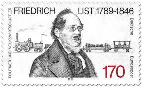 Friedrich List (Volkswirt) vor Eisenbahn, Briefmarke 1989 - friedrich-list-volkswirt-gr