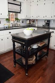 Kitchen Island Cabinets For Sale by Furniture Black Movable Kitchen Island With Oak Top And Shelves