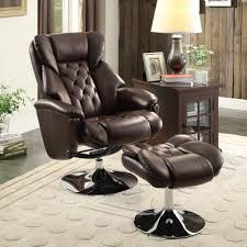 Swivel Recliner Chairs For Living Room Homelegance Aleron Swivel Reclining Chair W Ottoman In Dark Brown