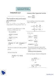 limit and continuity of trigonometric functions general