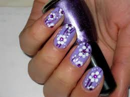 spring summer purple with white flowers nail art design youtube