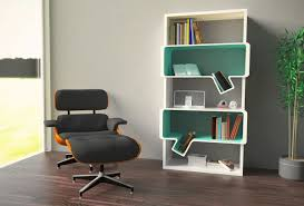 innovative white and turquoise book sheves design combined with
