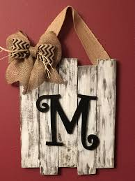 Wood Decor by Monogrammed Door Decor Wedding Gift Distressed Rustic Dorm Decor
