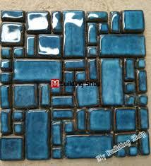 hand craft blue porcelain mosaic swimming pool tile pcmt068