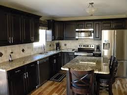 dark cabinets light backsplash fair light granite dark cabinets