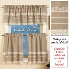 amazon com country style burlap and crochet lace kitchen cafe