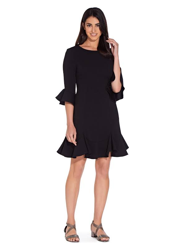 Adrianna Papell Knit Crepe Flounced Bell Sleeve Shift Dress Black