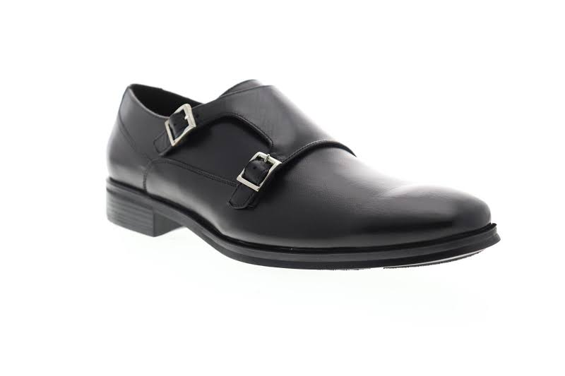 Bruno Magli Paro PARO-10 Black Leather Dress Monk Strap Shoes