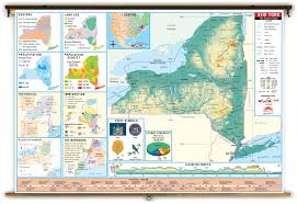 Thematic Maps New York State Thematic Classroom Map On Spring Roller From Kappa