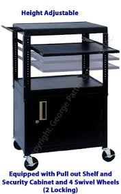 Kitchen Cart With Storage by Rolling Av Cart Two Locking Wheels U0026 Pull Out Shelf Space