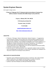It Example Resume by Download Information Systems Engineer Sample Resume