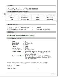 One Page Resume Format     Resume Samples For Freshers Btech Eee Free Download Biodata How To Write A Resume For A