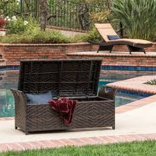 Wicker Patio Deck Storage Bench Outdoor Wicker Patio Box Rattan Pool Container