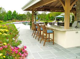 Ideas For Outdoor Kitchen Decorating Granite Countertop Plus Bar Stool For Outdoor