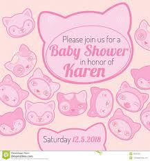 Baby Shower Invitation Cards Templates Baby Shower Invitation Card Cat Theme Stock Vector Image 45621051