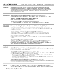 Electrical Engineering Resume Format Of The Field Application