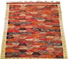 Multicolor Rug Moroccan Rug Zanafi Handmade Wool Carpet Multicolor Reversible