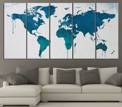 World Map Canvas by Large Wall Art Blue And Turquoise World Map On Watercolor Paper