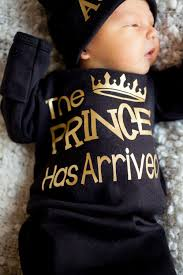 Personalized I Love My Aunt Baby Clothes Prince Has Arrived Newborn Boy Black And Gold Bodysuit Take Home