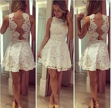 new arrival white lace short homecoming dress latest simple cheap
