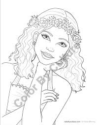 fashion coloring page with flower wreath coloring page