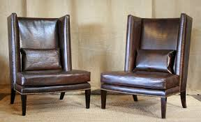 furniture crocodile wingback chairs for wingback leather chair