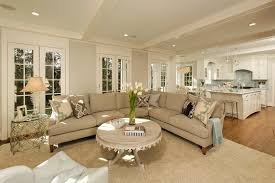 Kitchen Living Room Open Floor Plan Paint Colors Tufted Sectional Sofa Living Room Traditional With Neutral Colors