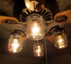 Farmhouse Kit Mason Jar Ceiling Fan Light Kit Only With Vintage Pints