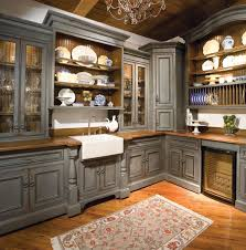 Glass Shelves Kitchen Cabinets Kitchen Traditional Kitchen Appliance Storage Cabinet Gray Painted