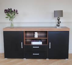 Living Room Furniture Tv Cabinet Black U0026 Walnut Sydney Large Sideboard U0026 Tv Cabinet 140cm Unit