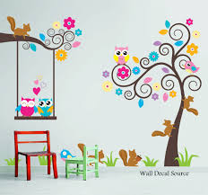 Tree Decal For Nursery Wall by Nursery Wall Decal Birds Owls Squirrels Swirly Tree Wall